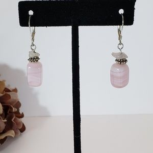 Rose Quartz Stone Hanging Earrings